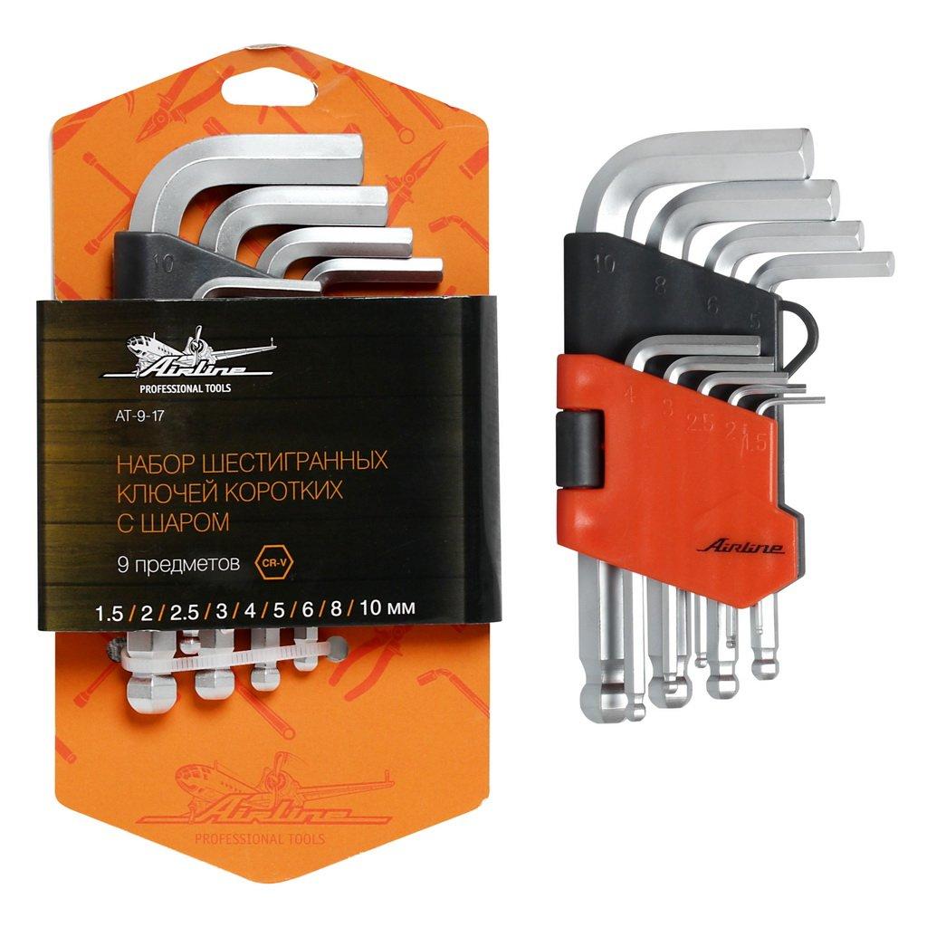Набор шестигранных ключей коротких инбус с шаром 9 предметов (1.5,2,2.5,3,4,5,6,8,10мм) пласт.подвес AIRLINE фото