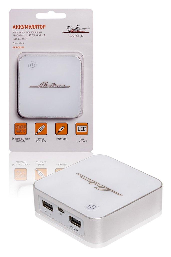 Аккумулятор внешний универсальный 7800мАч: 2хUSB 5V 1A+2.1A