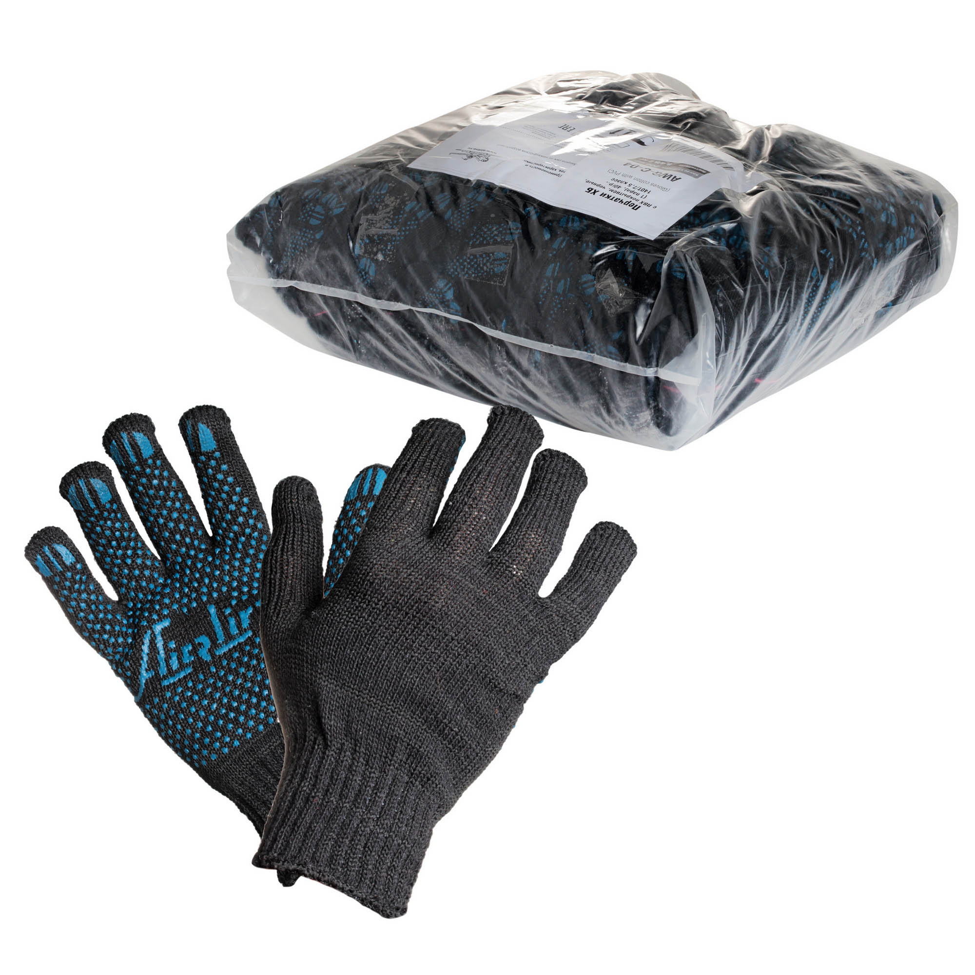 Перчатки ХБ с ПВХ покрытием, черные, 46 гр.,(1 пара), 140Т/7,5-8 класс AIRLINE