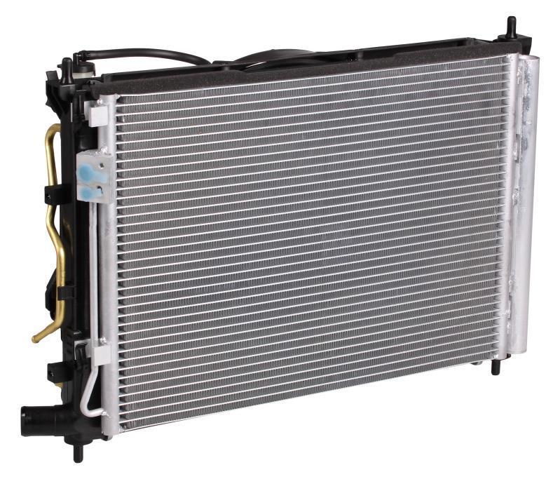 Блок охлаждения (радиатор+конденсер+вентилятор) для автомобилей Solaris (10-)/Rio (10-) 1.4/1.6 AT LUZAR фото