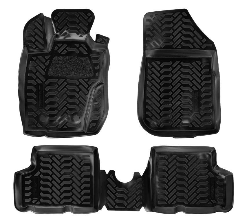 Ковры в салон (3D с подпят.) для Renault Duster 4WD (11-15) компл. 4 шт., (крепеж), выс. борт, полимер., черн. AIRLINE фото